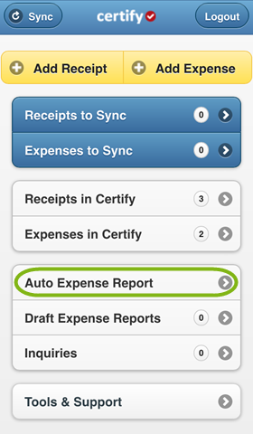 Step 1: After Adding Receipts And/or Expenses, Tap Auto Expense Report On  The Certify Mobile Homescreen.  Auto Expense Report