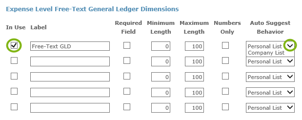 expense level free text general ledger dimensions certify help center