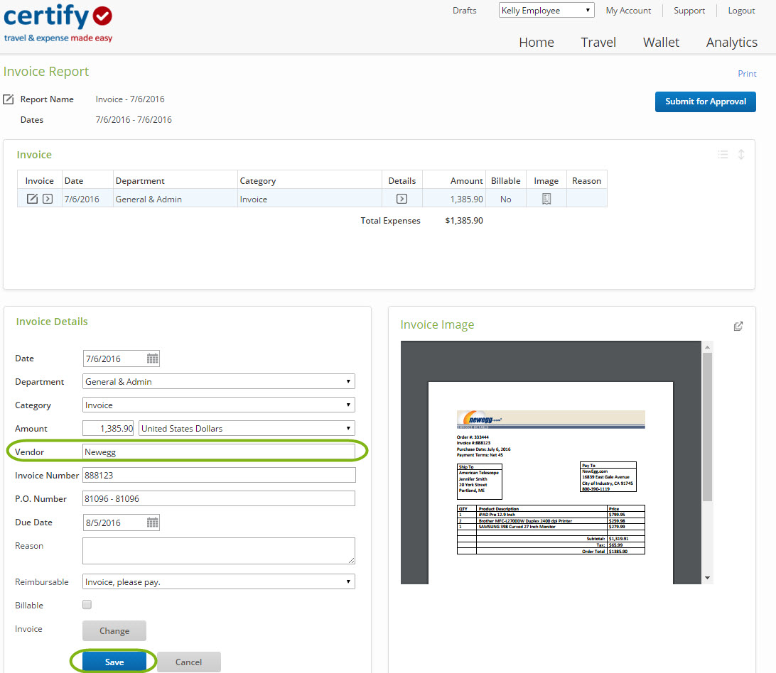 entering a new invoice vendor on an invoice report certify help center