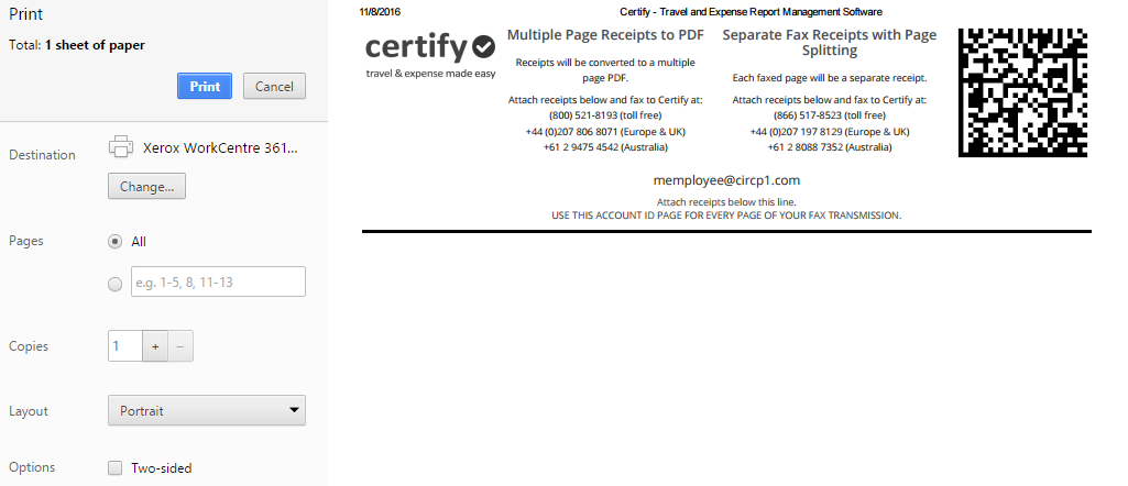 faxing receipts certify help center
