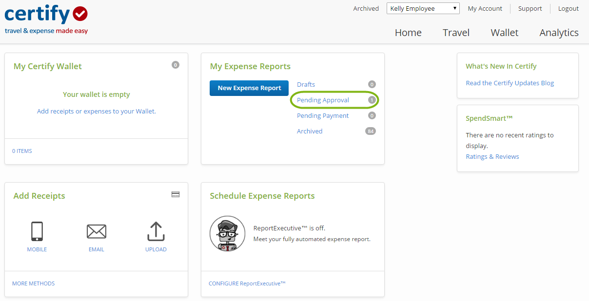 recalling an expense report certify help center