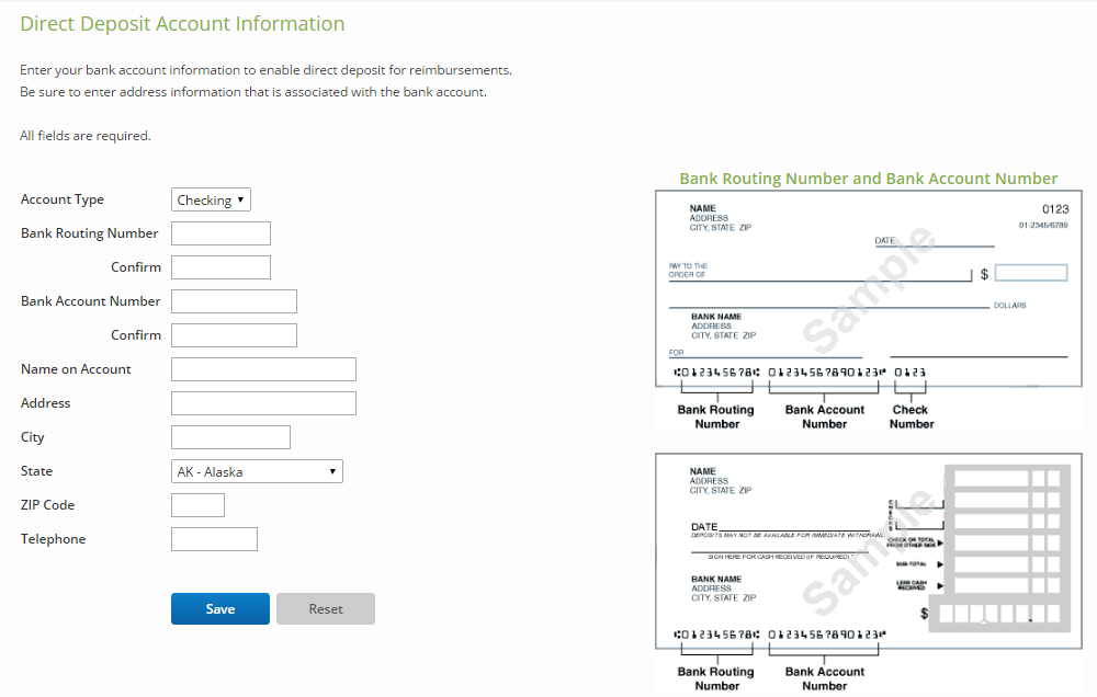 Entering Direct Deposit Account Information for Domestic ACH